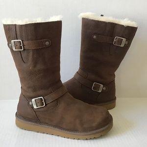 UGG Kensington Brown leather Moto winter boots
